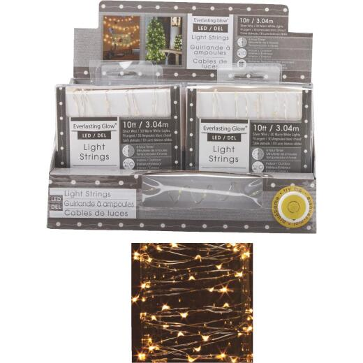 Everlasting Glow Warm White 30-Bulb Micro LED Battery Operated Light Set with Silver Wire